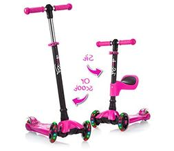 Lascoota 2-in-1 Kick Scooter for Kids with Removable Seat Gr