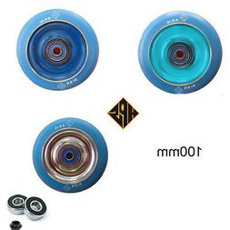 2 pro kick stunt scooter wheels aqua blue solid metal core b