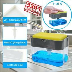2in1 Sponge Rack 13oz Liquid Soap Dispenser Soap Pump & Spon