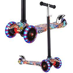 Hikole 3 Wheels Scooter for Kids, Mini Adjustable Kick Scoot