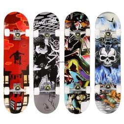 "31"" Maple Wood Deck Complete Skateboard Stained Longboard Sk"