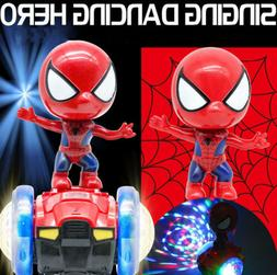 360° Rotating Spiderman Stunt Scooter Electric Music Light