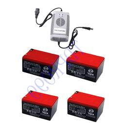 4x 12V 14AH 6-DMZ-12 SLA Battery + Charger for Moped Scooter