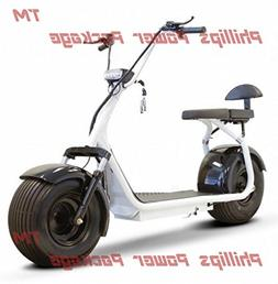 E-Wheels - Fat Tire Electric Scooter - 2-Wheel - White - PHI