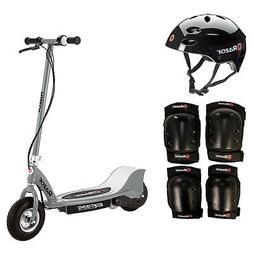 Razor E325 Electric 24V Gray Scooter + Youth Helmet + Elbow