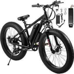 "Electric ScooterElectric Bike 26"" 7 Speed Fat Tire Black Sco"