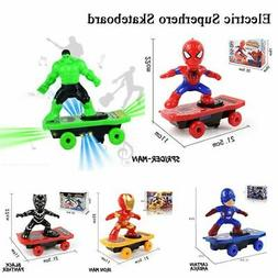 Electric Stunt Spiderman Scooter Skateboard Kid Toy W/ Light