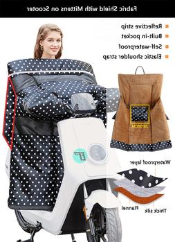 Fabric Shield with Mittens on Scooter Electric Motorcycle an