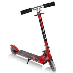 Folding Aluminum Kids Kick Scooter with LED Lights-Red