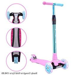WonderView Kick Scooter for Kids 3 Wheel Scooter,4 Height Ad