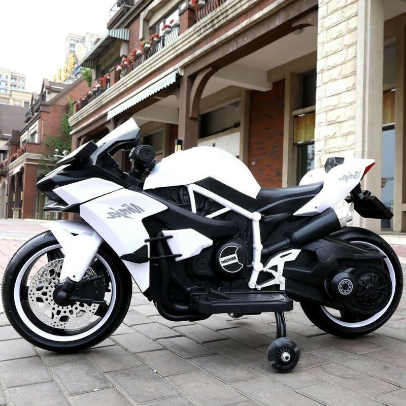 12V Kids Electric Ride-On Motorcycle Bike White