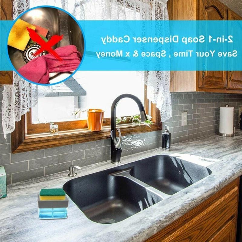 2in1 Sponge Rack Liquid Dispenser Soap Pump & Sponge Caddy With