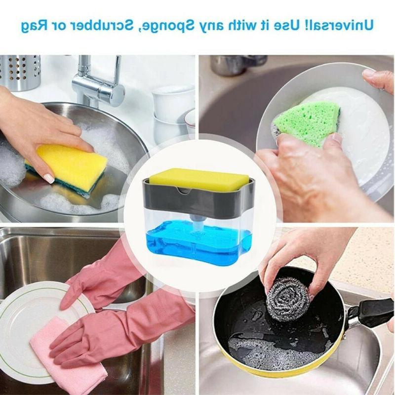 2in1 Sponge Rack 13oz Liquid Dispenser Soap Pump Sponge Caddy With Sponge