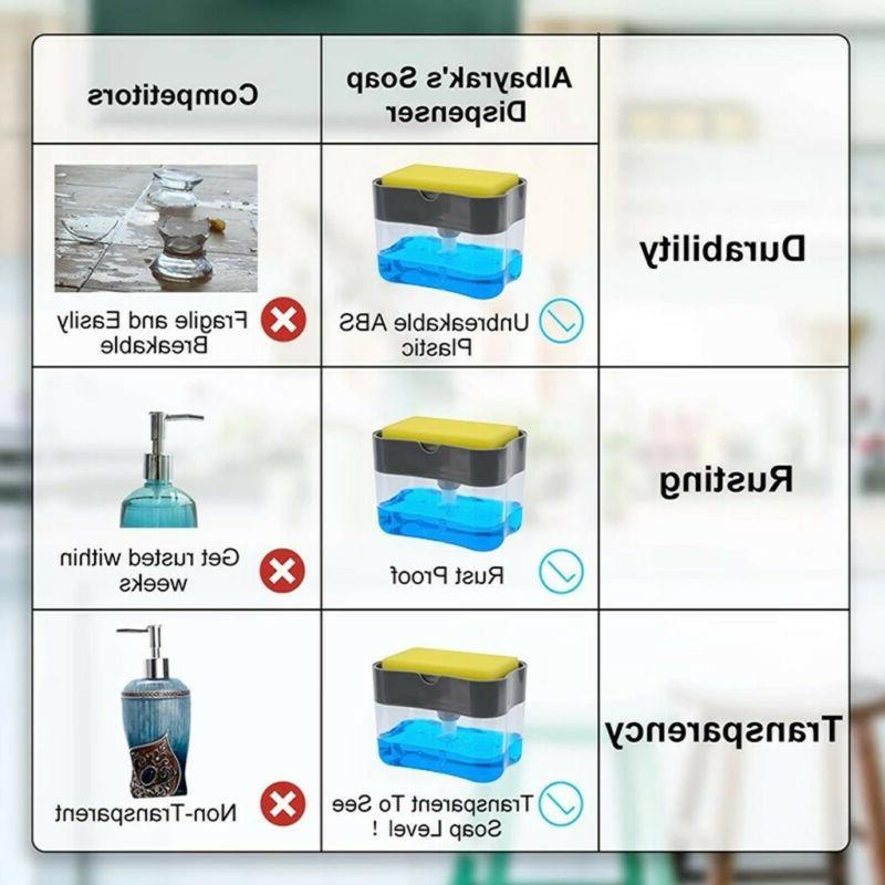 2in1 Rack Liquid Dispenser Pump & Sponge With