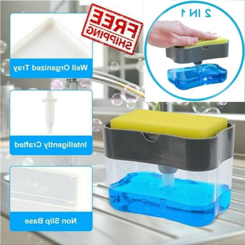 2in1 sponge rack 13oz liquid soap dispenser