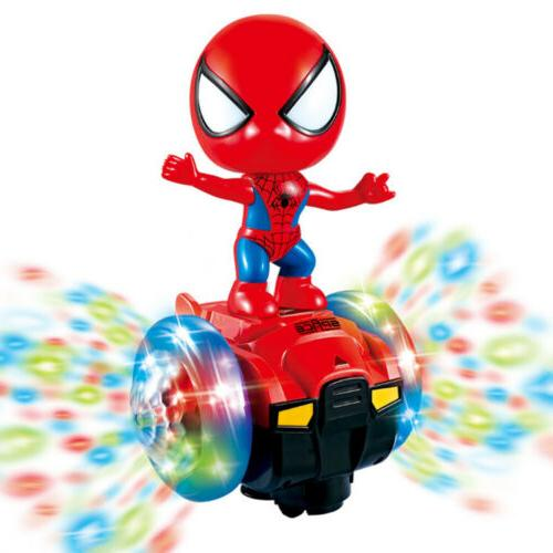 360° Rotating Spiderman Scooter Music Light Kids Dancing Toys