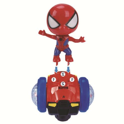360° Rotating Spiderman Scooter Electric Music Light Kids Toys