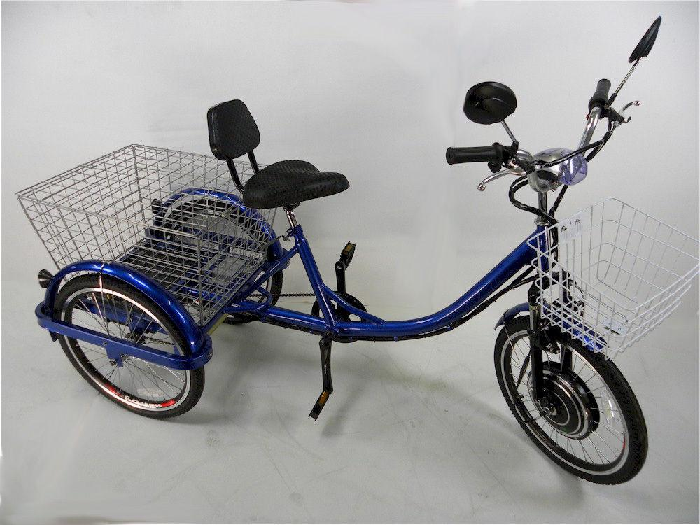 Blue electric wheels tricycle, adult motorized