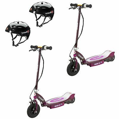 e100 rechargeable electric motor kids scooters purple