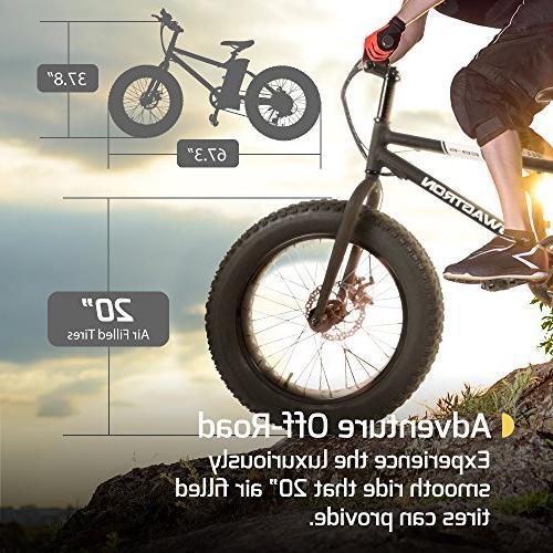 "Swagtron Bandit E-Bike 350W Power 4"" 20"" Removable 36V Lithium Ion Battery, Dual Electric SIS Shifting Trail"