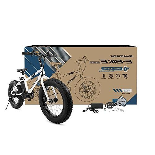 """Swagtron 350W Power Assist, 4"""" Tires, 20"""" Removable Battery, SIS for Trail Riding"""