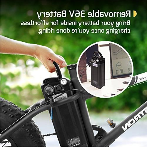"""350W Motor, Power 4"""" Wheels, Removable 36V Lithium Ion Battery, Dual Brakes– Electric Bike Trail Riding"""
