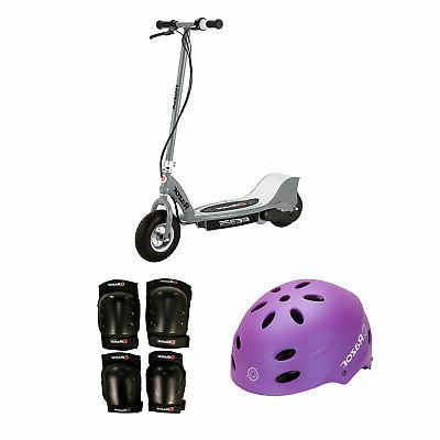electric kids scooter silver youth sport helmet