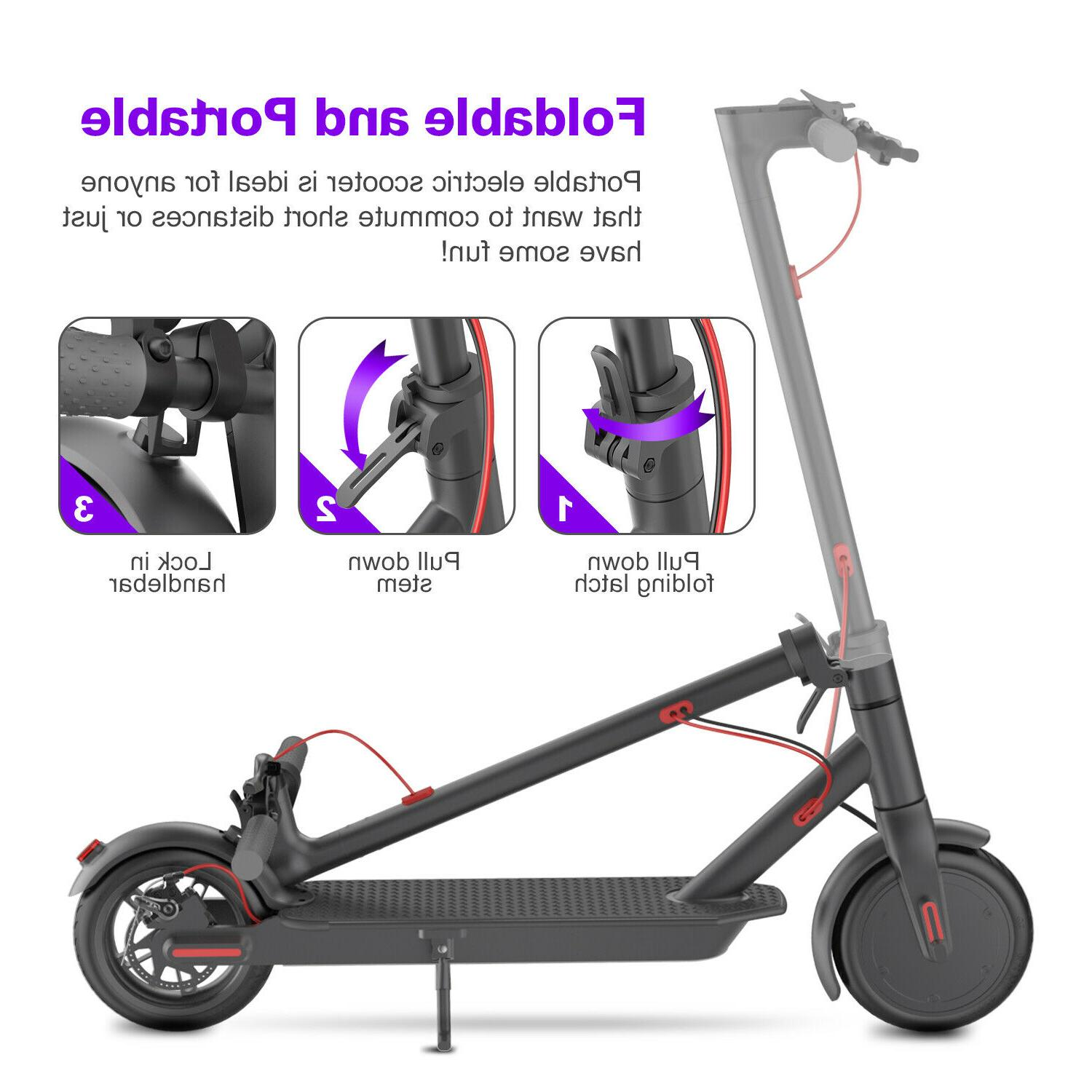 "Electric Scooter Folding 8.5""Tire up to 15.8 Black"
