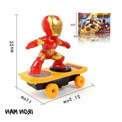 Electric Stunt Spiderman Scooter Skateboard Kid Toy Light Music 360°