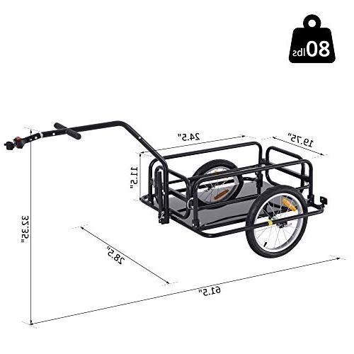 Aosom Folding Bike Trailer Cart with Post Hitch- Black