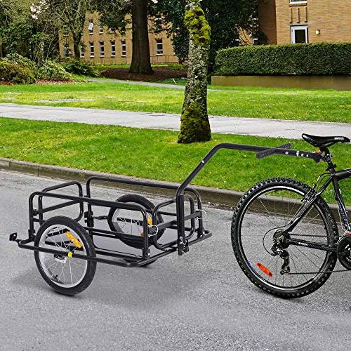 Aosom Folding Cargo Trailer with Seat Post Hitch- Black