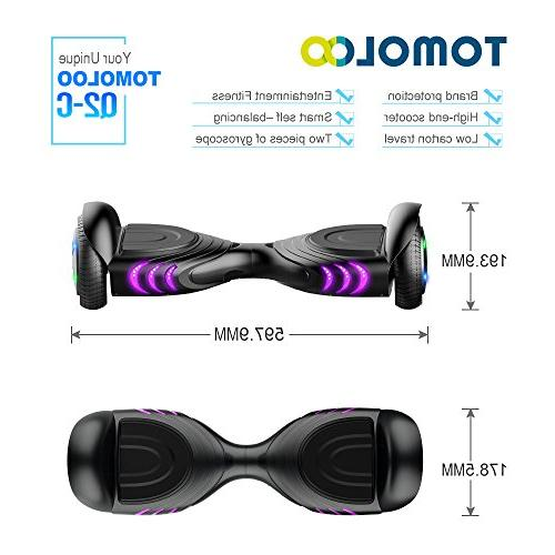 TOMOLOO Hoverboards Two-Wheel Electric Scooter Light Hover Battery