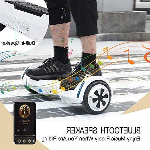 CXM Certified 6.5 Wheels Electric Bluetooth Speaker and Side Lights for and Adults,Smart Self Hover Board