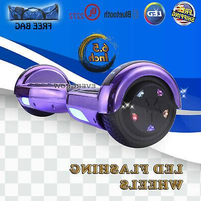 """Hoverboard UL 2272 Self-Balancing Electric Scooter LED 6.5"""" Purple"""