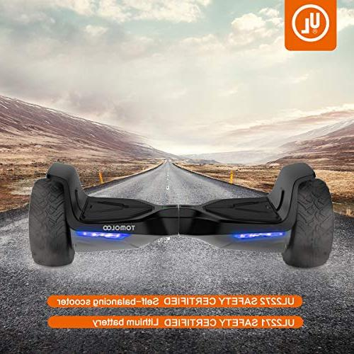 """TOMOLOO 8.5"""" Terrain Wheels Off-Road App Self Balancing Scooter Kids and Bluetooth and Light"""