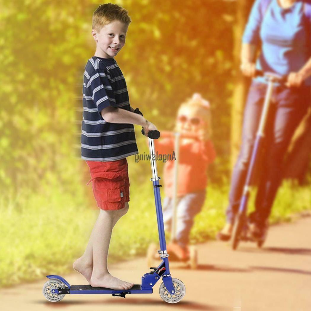 Kids Folding Age 3-16 Adjustable Kick Scooters Girls LED_Wheels