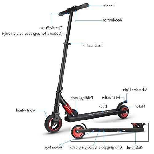 Lightweight Scooter Adults Kids, to 23MPH, up to 12 Mile Range, 250W