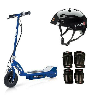 motorized rechargeable blue electric scooter w black