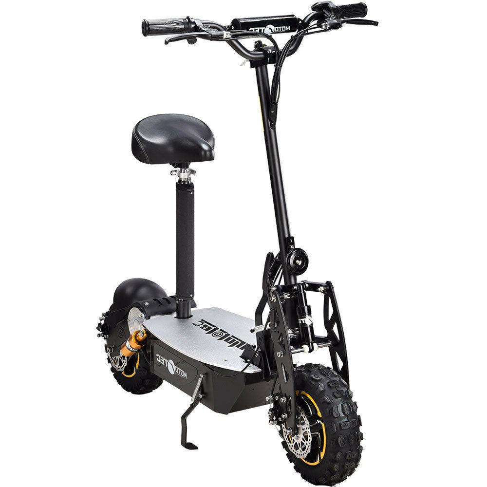 MotoTec 2000w 48v Electric Scooter, Black Chain Drive Horn M
