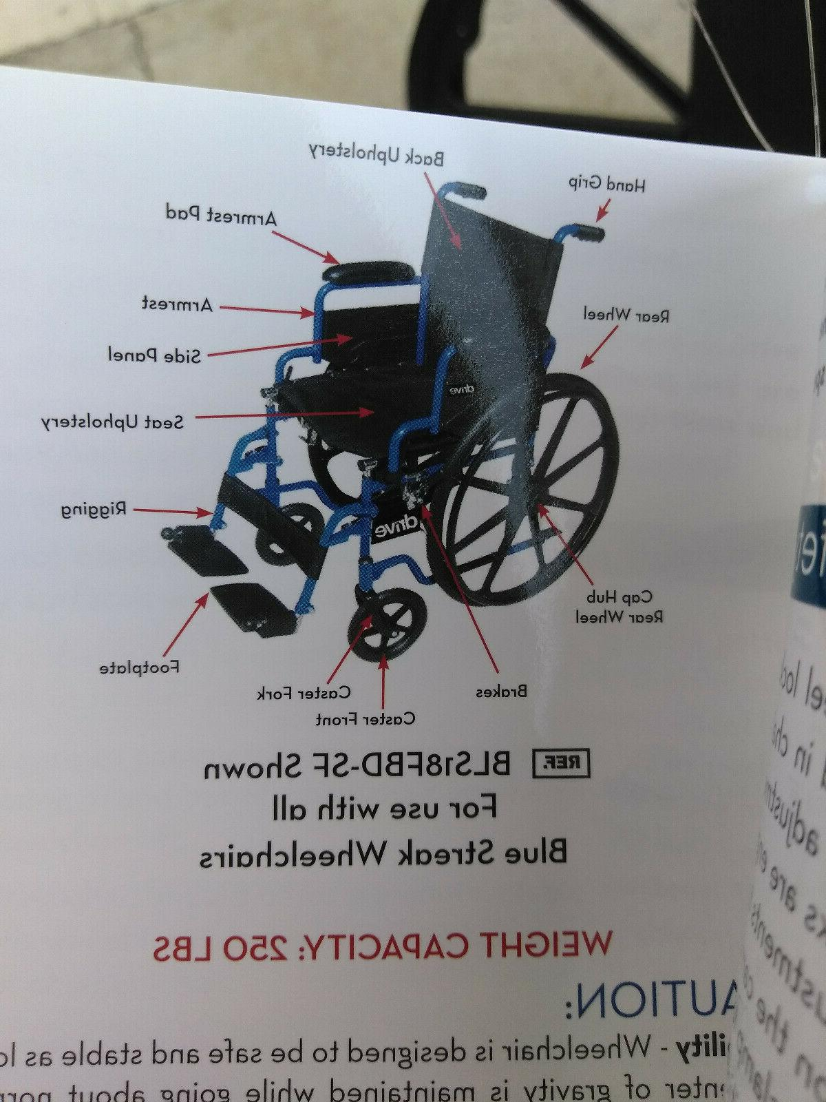 """NEW Drive Blue Streak Wheelchair Desk Arms Footrests, 18"""" Seat"""