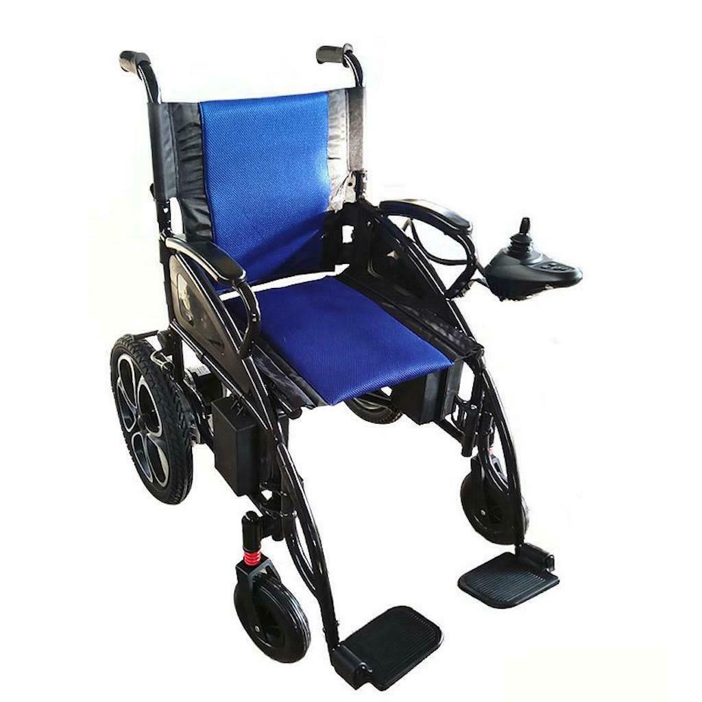 new premium blue lightweight electric wheelchairs power