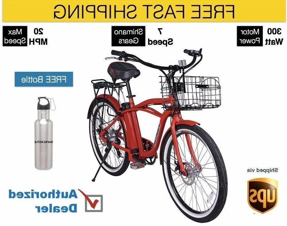 X-Treme Electric Bike Beach Cruiser Bicycle -RED, Free