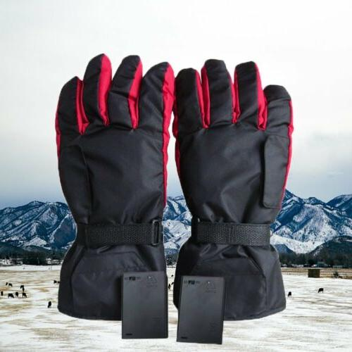 US Electric Battery Heated Gloves Thermal Motorcycle Bike Sc