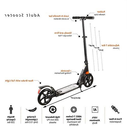 kids/Adult Scooter Seconds System, 220lb Folding Scooter Disc and 200mm Large Wheels