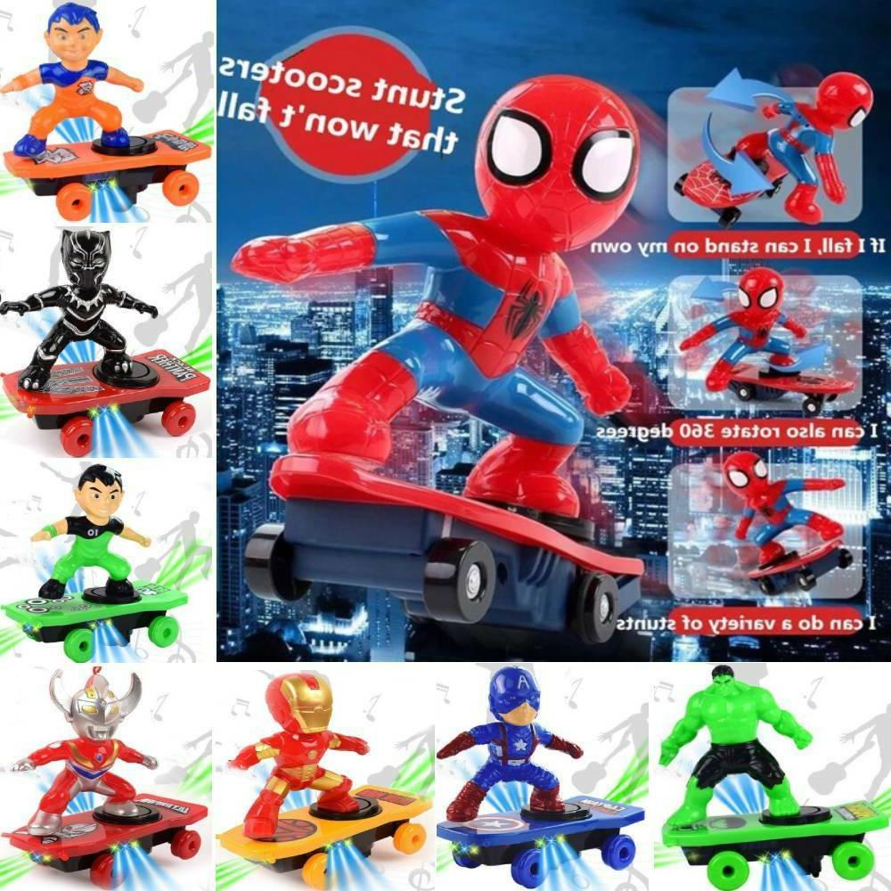 scooter electric car stunt toys spiderman black