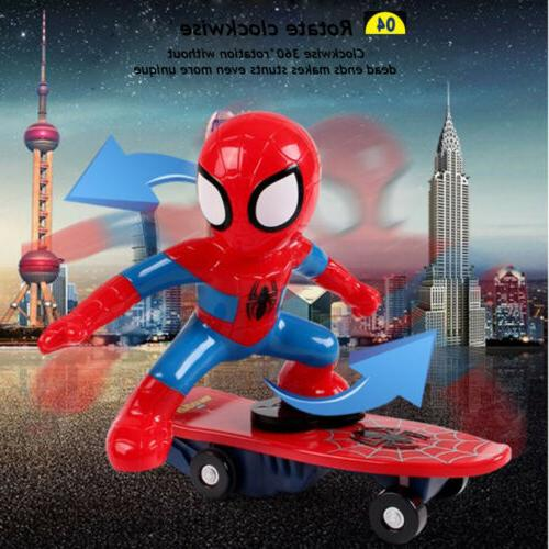 Spiderman 2.4GHZ RC Stunt Scooter Skateboard Rotation Sound
