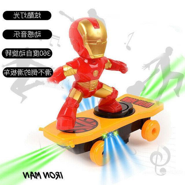 Spiderman/Iron Scooter Car Stunt Music led Light Toys