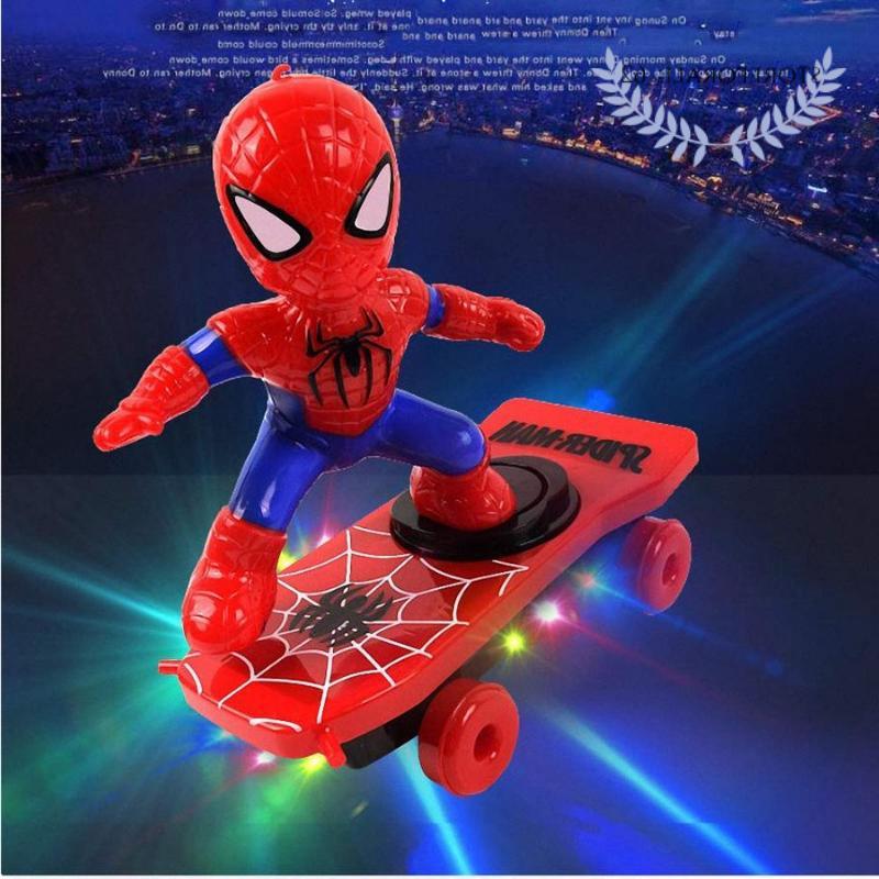 spiderman iron man scooter electric car stunt