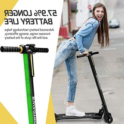 Swagtron Electric Scooter with Range, Lightweight Carbon Fiber Body; Design