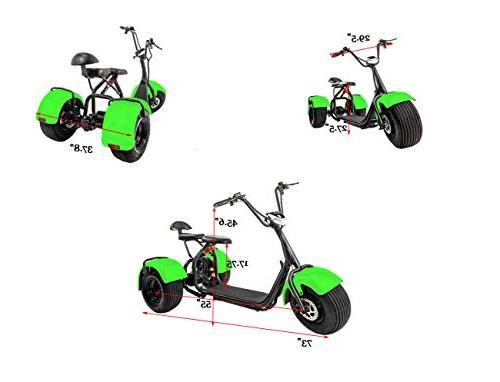 eDrift UH-ES395 3-Wheel Electric Chopper Trike Scooter Moped Harley E-Bike